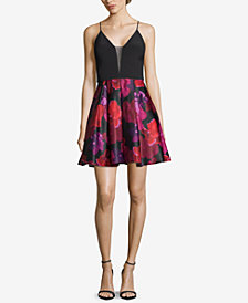 Betsy & Adam Solid & Floral-Print Fit & Flare Dress