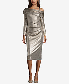 Betsy & Adam Off-The-Shoulder Asymmetrical Metallic Dress