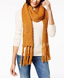 Steve Madden Lurex Knit Tassel Scarf