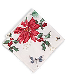 "CLOSEOUT! Lenox Butterfly Meadow Poinsettia 19"" x 19"" Napkin"