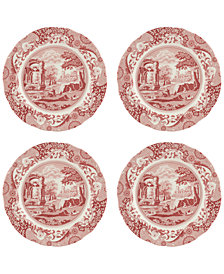 Spode Cranberry Italian Dinner Plates, Set of 4