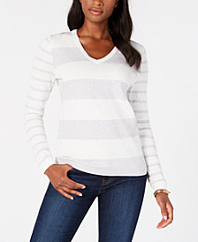 Tommy Hilfiger Cotton Rugby-Stripe V-Neck Sweater, Created for Macy's