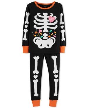 Carters Toddler Girls Glowinthe Dark Skeleton Cotton Pajamas