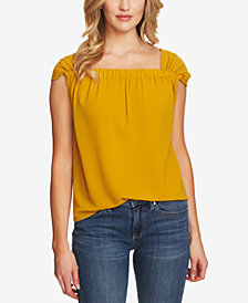 CeCe Textured Square-Neck Top