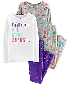 Carter's Big Girls 4-Pc. Printed Snug-Fit Cotton Pajama Set