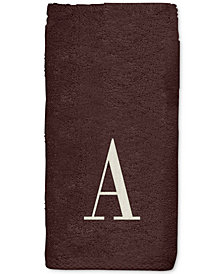 Avanti Brown Monogram Embroidered Fingertip Towel