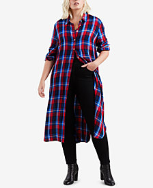 Levi's® Plus Size Ceci Cotton Plaid Long Shirt