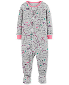Carter's Baby Girls Dinosaur-Print Cotton Footed Pajamas