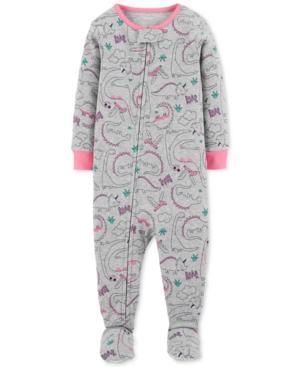 Carters Baby Girls DinosaurPrint Cotton Footed Pajamas