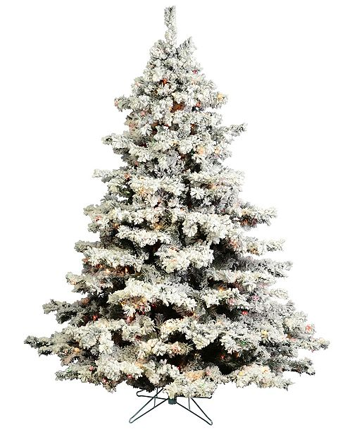 7 5 Flocked Alaskan Pine Artificial Christmas Tree With 800 Multi Colored Lights And 45 G50