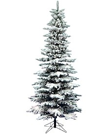 7.5' Flocked Utica Fir Slim Artificial Christmas Tree Unlit