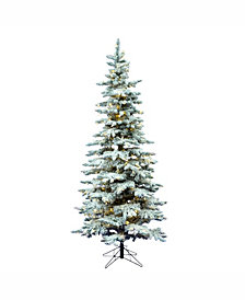 6.5' Flocked Utica Fir Slim Artificial Christmas Tree with 300 Warm White LED Lights
