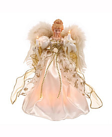"12"" White-Gold Lit Angel Christmas Tree Topper"