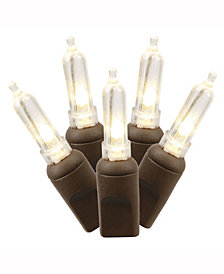 50 Warm White Italian LED Light on Brown Wire, 25' Christmas Light Strand