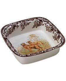 Spode Woodland Dog Square Dish