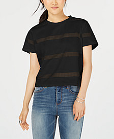 Gypsies & Moondust Juniors' Striped Mesh T-Shirt
