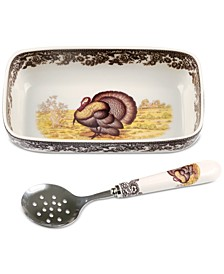 Woodland Turkey Cranberry Dish with Slotted Spoon