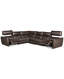 Fanna 6-Pc. Leather Sectional with 2 Power Recliners and Articulating Headrest, Created for Macy's