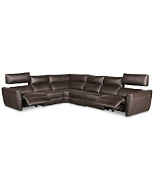 CLOSEOUT! Fanna 6-Pc. Leather Sectional with 2 Power Recliners and Articulating Headrest, Created for Macy's