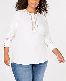 Lucky Brand Trendy Plus Size Cotton Embroidered Henley Thermal Top