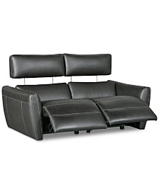 """CLOSEOUT! Fanna 68"""" 2-Pc. Leather Sofa Sectional with 2 Power Recliners and Articulating Headrest, Created for Macy's"""