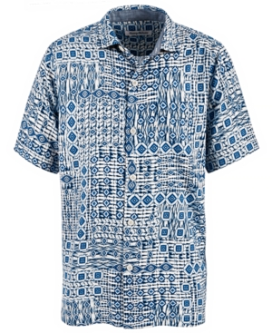 Tommy Bahama  MEN'S TILE TRAVELER SILK CAMP SHIRT