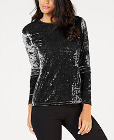 MICHAEL Michael Kors Crushed Velvet Long-Sleeve Top
