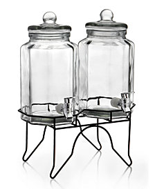 Jay Imports Laredo Double 1-Gallon Octagon Beverage Dispenser Set with Rack