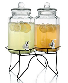 Laredo Double 1-Gallon Octagon Beverage Dispenser Set with Rack