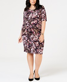 81055af9a6f Connected Plus Size Floral Faux-Wrap Sheath Dress