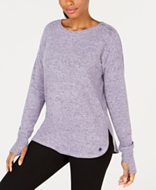 Ideology Heathered Drop-Shoulder Top, Created for Macy's