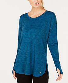 Ideology Essential Long-Sleeve Lace-Up Back T-Shirt, Created for Macy's