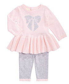 First Impressions Baby Girls Cotton Bow Sweater Dress & Tights Set, Created for Macy's