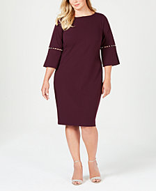 Calvin Klein Plus Size Imitation-Pearl Sheath Dress