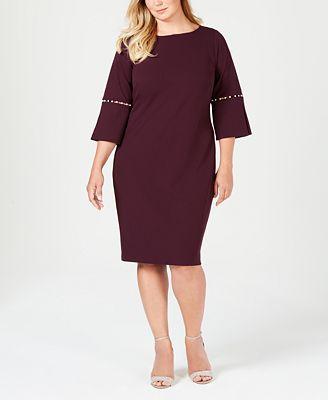 Calvin Klein Plus Size Imitation Pearl Sheath Dress Dresses