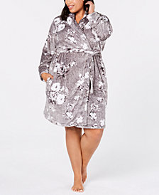 Charter Club Plus Size Printed Short Wrap Robe, Created for Macy's