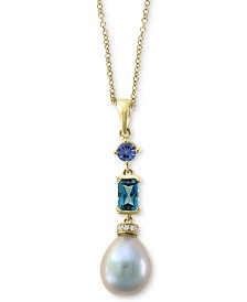 """EFFY Blue Cultured Freshwater Pearl (12 x 10mm) & Multi-Gemstone (1 ct. t.w.) 18"""" Pendant Necklace in 14k Gold"""