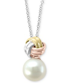 "EFFY® Cultured Freshwater Pearl (9mm) 18"" Pendant Necklace in 14k Gold, White Gold & Rose Gold"
