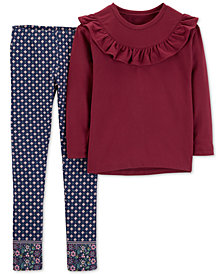 Carter's Little & Big Girls 2-Pc. Ruffle-Trim Top & Printed Leggings Set