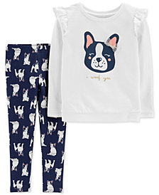 Carter's Toddler Girls 2-Pc. French Bulldog Sweatshirt & Printed Leggings Set