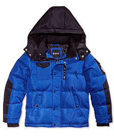 DKNY Little Boys Hooded Colorblocked Bubble Coat