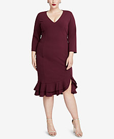 RACHEL Rachel Roy Plus Size Tiered Ruffled Sheath Dress