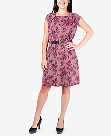 NY Collection Belted Cap-Sleeve A-Line Dress