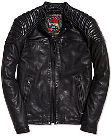 Superdry Men's New Hero Leather Racer Jacket
