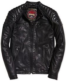 Superdry Men's New Hero Leather Racer Jacket