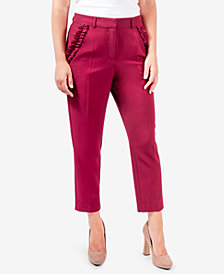 NY Collection Ruffle-Pocket Ankle Pants