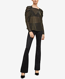 BCBGMAXAZRIA Metallic Draped-Shoulder Top