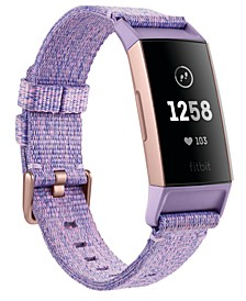 Charge 3 Interchangeable Lavender/Rose Gold-Tone Fabric & Black Elastomer Strap Smart Watch 22.7mm - A Special Edition
