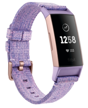 Fitbit CHARGE 3 INTERCHANGEABLE LAVENDER/ROSE GOLD-TONE FABRIC & BLACK ELASTOMER STRAP SMART WATCH 22.7MM -