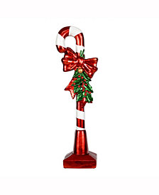 "37"" Red and White Candy Cane with Red Bow, Bell, and Holly Figure"